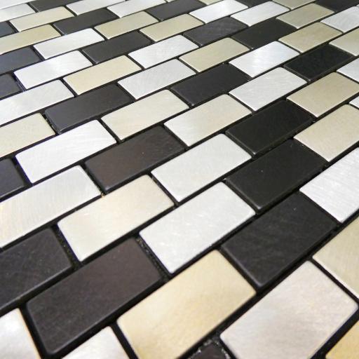 Self Adhesive Mosaic Aluminium Tile Metal Bricks