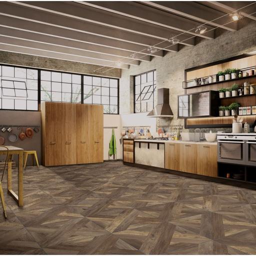 Intarsio Moro Wood Effect Italian Porcelain Rectified Wall & Floor Tiles