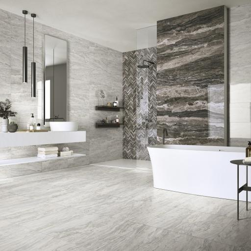 Mainstone Silver Marble Effect Porcelain Rectified Wall & Floor Tiles