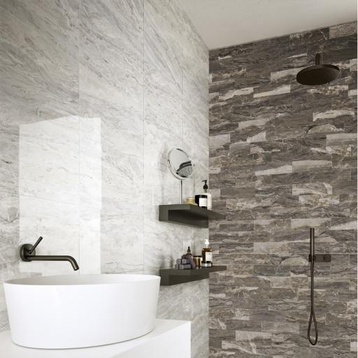 Mainstone Silver Polished Marble Effect Porcelain Rectified Wall & Floor Tiles