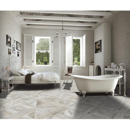 Intarsio Bianco Wood Effect Italian Porcelain Rectified Wall & Floor Tiles
