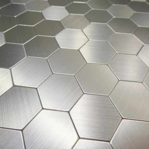 Self Adhesive Mosaic Aluminium Tile Hexagon Silver