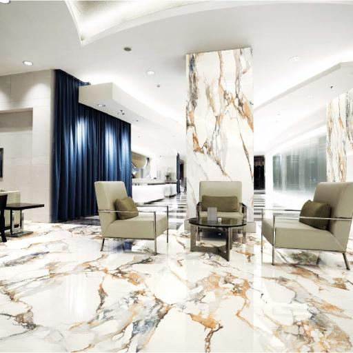 Calacatta Gold Matt Silk Finish Marble Effect Porcelain Wall & Floor Tiles