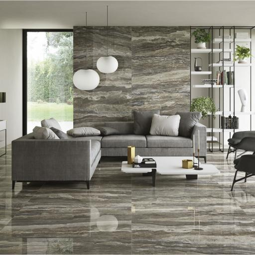 Mainstone Taupe Polished Marble Effect Porcelain Rectified Wall & Floor Tiles