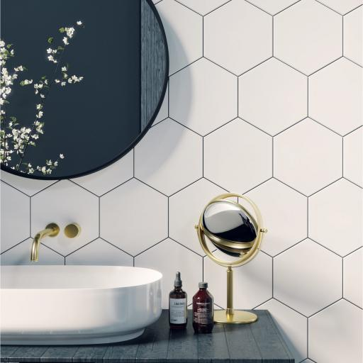 Hexagon Blanco Decor Porcelain Wall & Floor Tiles 19.8 x 22.8cm