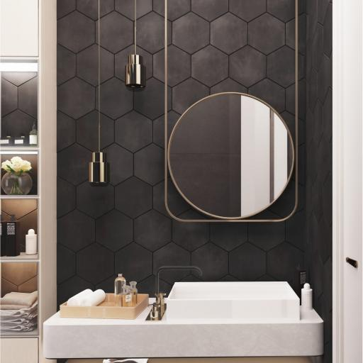 Hexagon Black Decor Porcelain Wall & Floor Tiles 19.8 x 22.8cm