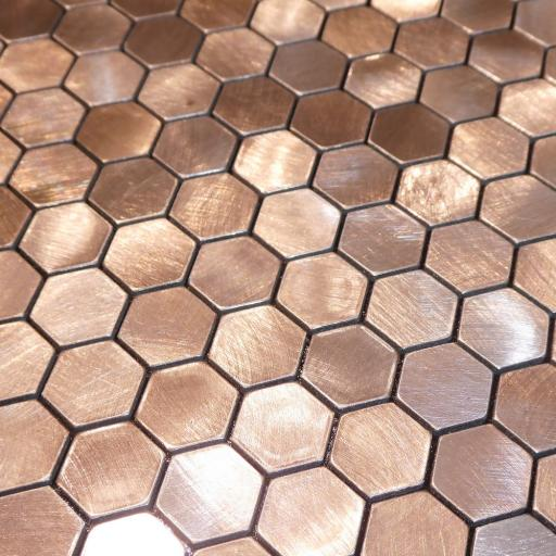 Self Adhesive Mosaic Aluminium Tile Hexagon Bronze
