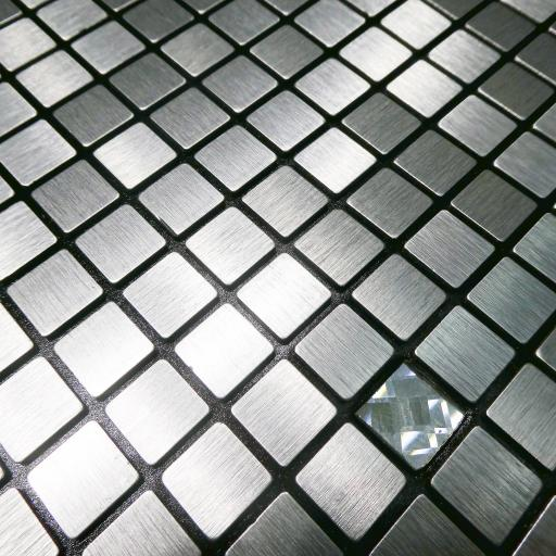 Self Adhesive Mosaic Aluminium Tile Silver Diamond Squares Kitchen Bathroom