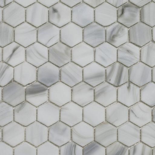 Mosaic Tiles Sheet Hexagon White Carrara Effect Glass 30cm X 30cm