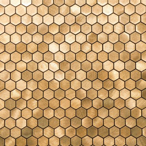 Self Adhesive Mosaic Aluminium Tile Hexagon Gold