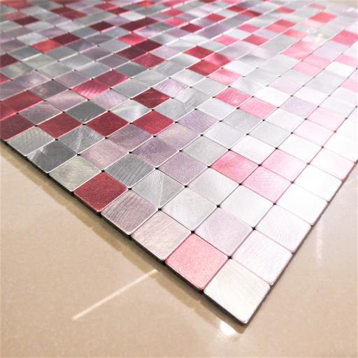 Self Adhesive Mosaic Aluminium Tile Purple/Pink/Silver