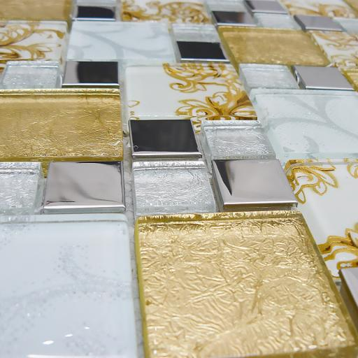 Mosaic Tiles Sheet Onyx Gold Vintage Mix Squares 30cm X 30cm