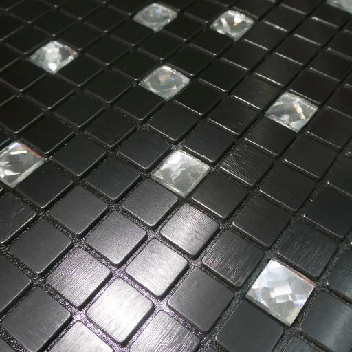 Self Adhesive Mosaic Aluminium Tile Black Diamond Squares Kitchen Bathroom