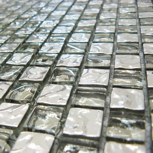 Mosaic Tiles Sheet Diamond Clear Glass & Silver 30cm X 30cm