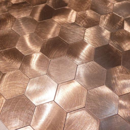 Self Adhesive Mosaic Aluminium Tile Large Hexagon Bronze