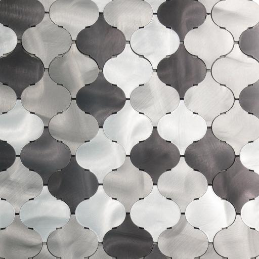 Self Adhesive Mosaic Aluminium Tile Arabasco Grey, Black, Silver