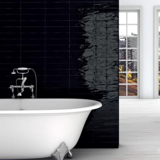 Manhattan Black Gloss Italian Ceramic Wall Tiles 7.5 x 30 cm