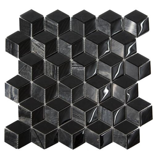 Mosaic Tiles Sheet 3D Nero 30cm X 30cm