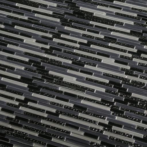 Mosaic Tiles Sheet Linea Black & Grey Glass Stripes 30cm X 30cm