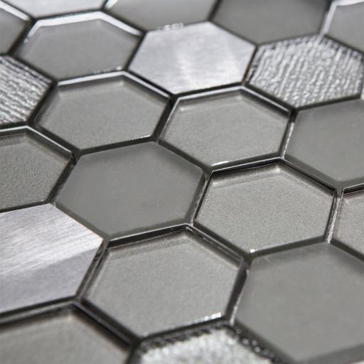 Mosaic Tiles Sheet Habitat Hexagon Silver 30cm X 30cm
