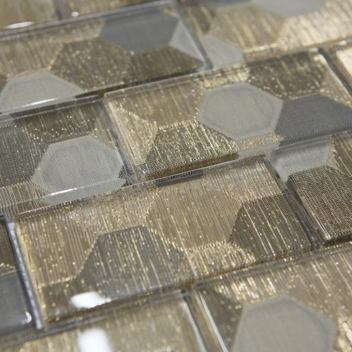 Mosaic Tiles Sheet Metallic Gold Brick Glass 30cm X 30cm