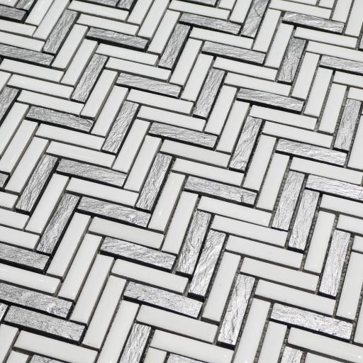 Mosaic Tiles Sheet White & Silver Herringbone 30cm X 30cm