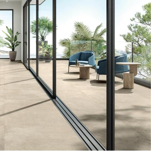 District Beige Limestone Effect Porcelain Rectified Wall & Floor Tiles