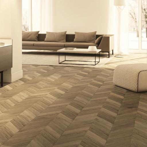 Greco Cognac Chevron Wood Effect Porcelain Wall & Floor Tiles