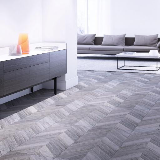 Greco Argent Chevron Wood Effect Porcelain Wall & Floor Tiles