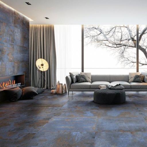 Metal Blue Décor Italian Porcelain Wall & Floor Tiles