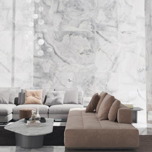 Eunoia Grey Polished Porcelain Wall & Floor Tiles 120 x 120cm