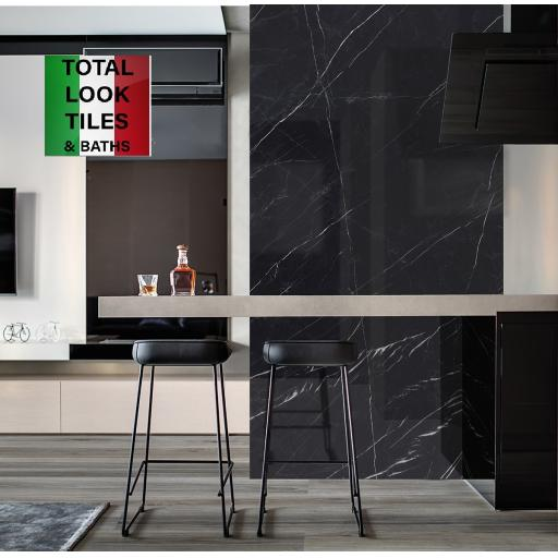 Marquina Black Marble Effect Porcelain Rectified Wall & Floor Tiles