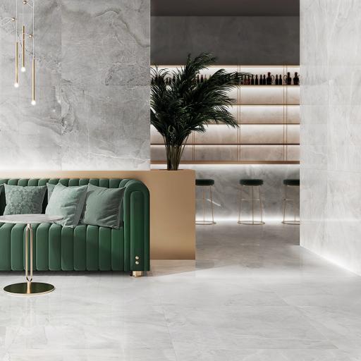 Akron White Polished Porcelain Wall & Floor Tiles 120 x 120cm
