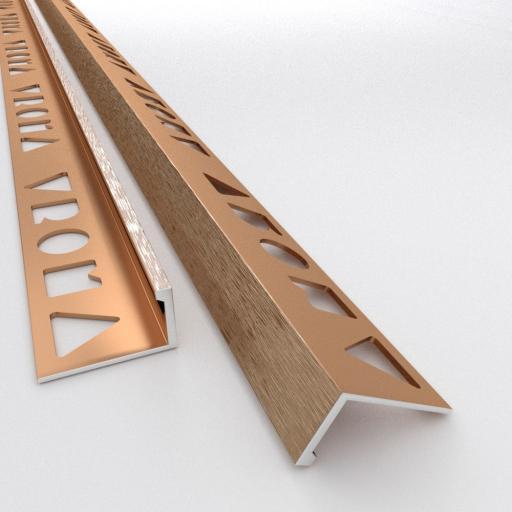Brushed Bronze 12mm Straight Edge L-Shape 2.5M Heavy Duty Aluminium Tile Trims