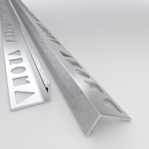 Brushed Chrome 12mm Straight Edge L-Shape 2.5M Heavy Duty Aluminium Tile Trims