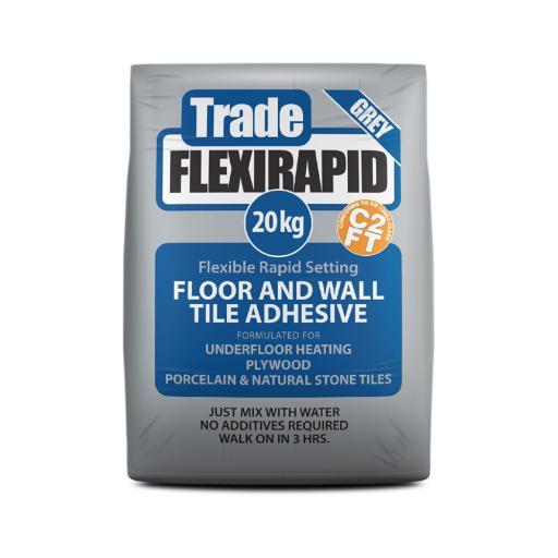 Tilemaster Trade Flexi Rapid Grey Tile Adhesive 20kg
