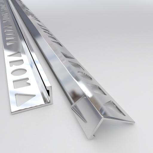 Bright Chrome 10mm Straight Edge L-Shape 2.5M Heavy Duty Aluminium Tile Trims