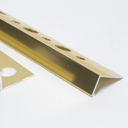Polished Aged Gold 12mm Straight Edge L-Shape 2.5M Heavy Duty Aluminium Tile Trim