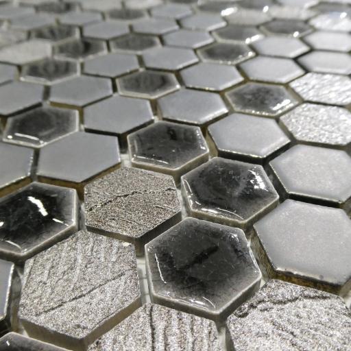 Mosaic Tiles Sheet Mini Hexagon Grey And Black 30cm X 30cm