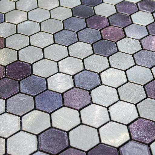 Self Adhesive Mosaic Aluminium Tile Hexagon Purple