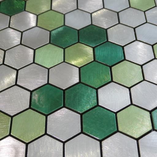 Self Adhesive Mosaic Aluminium Tile Hexagon Green