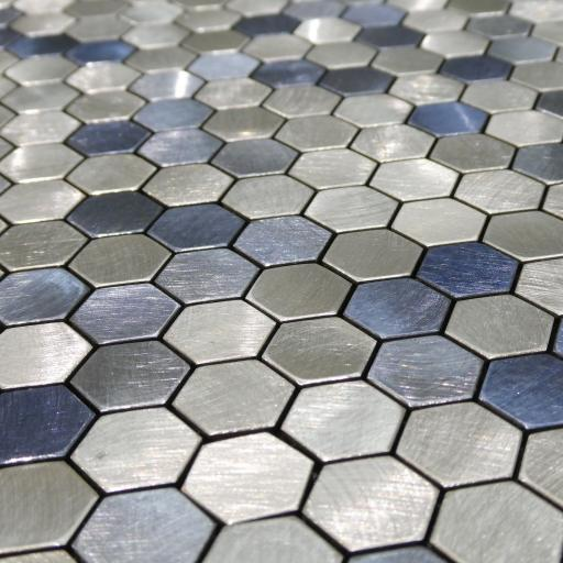 Self Adhesive Mosaic Aluminium Tile Hexagon Blue