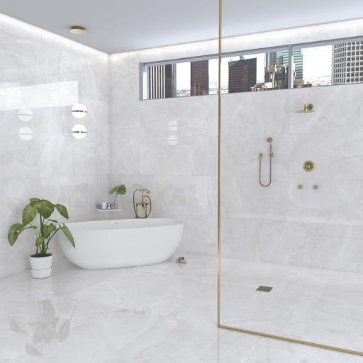 Akron White Polished Porcelain Wall & Floor Tiles 120 x 60cm
