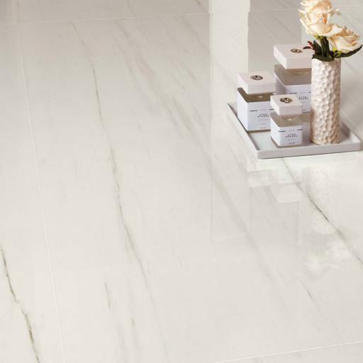 Marble Dolomite Polished Stone Effect Italian Porcelain Wall & Floor Tiles 60 x 60 cm